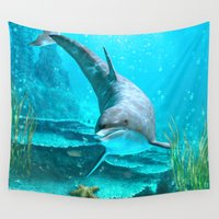 dolphin Wall Tapestries featuring Dolphin by Simone Gatterwe