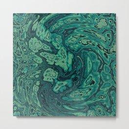 Green Marble Paint Swirl Metal Print