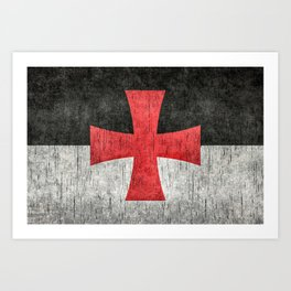 Knights Templar Symbol with super grungy textures Art Print