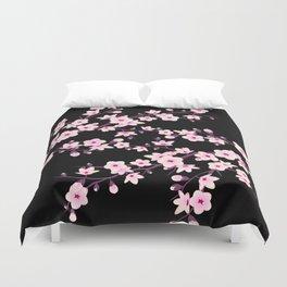Cherry Blossom Pink Black Duvet Cover