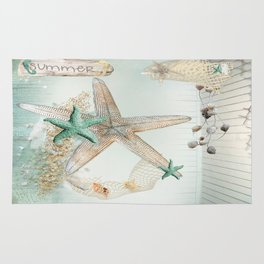 Summer Sea Treasures Beach Rug