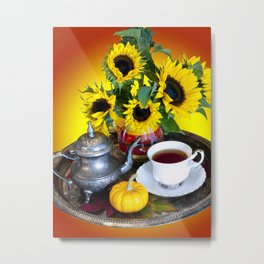 Autumn Tea Service Metal Print
