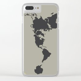 Dymaxion Map - Greys Clear iPhone Case