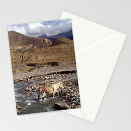 Horse Crossing River near Jomsom Stationery Cards