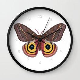 io moth (Automeris io) female specimen 2 Wall Clock
