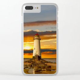 Point of Ayr Lighthouse Sunset Clear iPhone Case