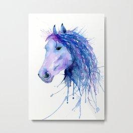 Watercolor Abstract Horse Portrait Metal Print