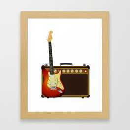 Guitar And Aplifier Framed Art Print