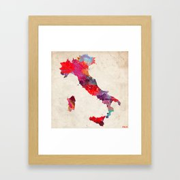 Italia map square painting Framed Art Print