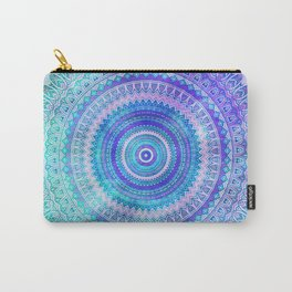 Blue Turquoise And Purple Watercolor Mandala Art Carry-All Pouch
