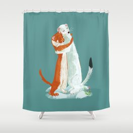 Weasel hugs Shower Curtain