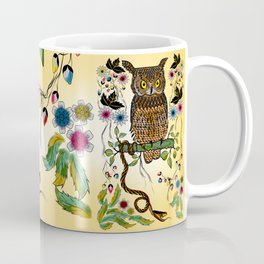 Vibrant Jungle Owl and Snake Coffee Mug