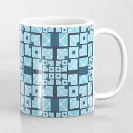 Structured Elegance Blue Grey Squares Geometric Print Coffee Mug
