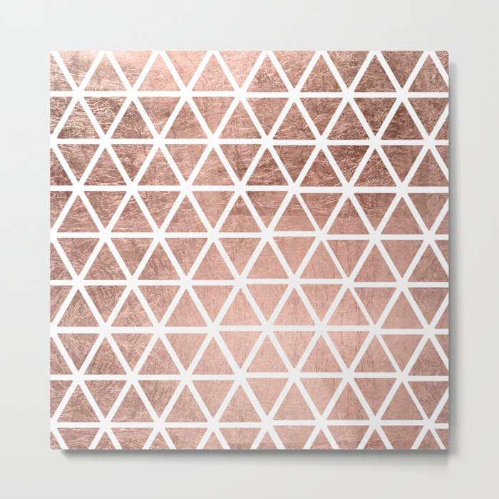 Geometric faux rose gold foil triangles pattern Metal Print