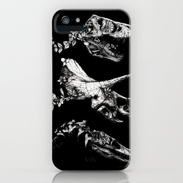 jurassic bloom - black version. iphone case