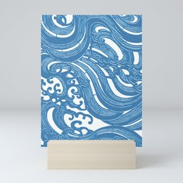 Stencil with Pattern of Waves,19th century Japan (Edited Blue) Mini Art Print