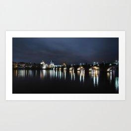 Charles Bridge at dusk Art Print