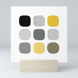 Abstract in mustard and grey Mini Art Print