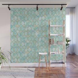 Luxury Aqua and Gold oriental pattern Wall Mural
