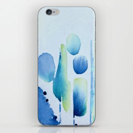 Watercolour tumbles in blue iPhone Skin