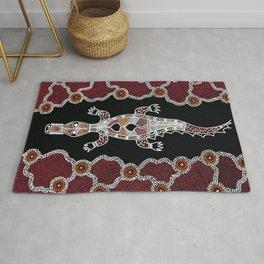 Aboriginal Art Crocodile Authentic Art 2 Rug