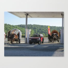 Horse & Buggies need fuel to Canvas Print