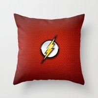 flash Throw Pillows featuring FLASH by neutrone