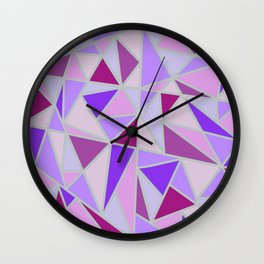 Purple Shards Geometric Pattern Wall Clock