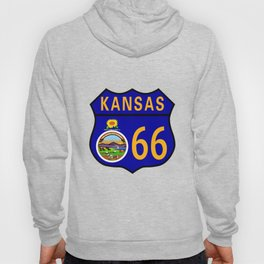 Route 66 Kansas Sign and Flag Hoody