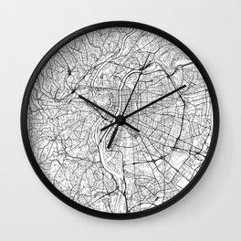 Lyon Map White Wall Clock