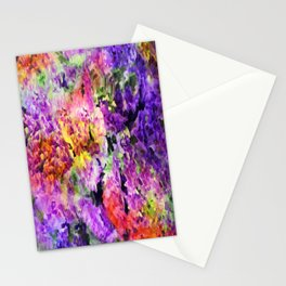 Elegant Rainbow Floral Abstract Stationery Cards