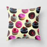 cupcakes Throw Pillows featuring Cupcakes by Tangerine-Tane