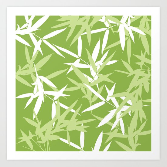 Green Bamboo Leaves Unique Pattern Art Print