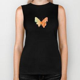 Orange Watercolor Butterfly Biker Tank