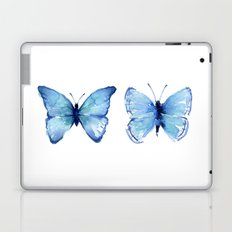 Two Blue Butterflies Watercolor Animals Insects Laptop & iPad Skin