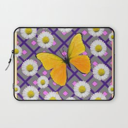 Yellow Butterfly on Lilac-pink Shasta Daisy Grey Abstract Pattern Laptop Sleeve