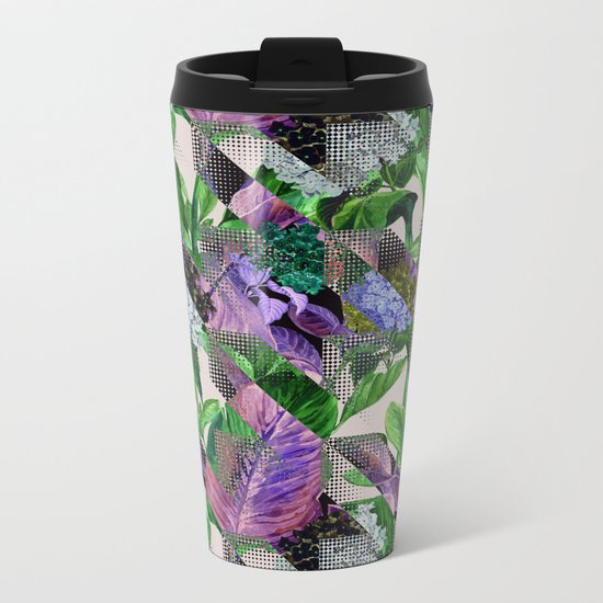 Floral and Geometric Metal Travel Mug