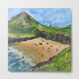 On the beach Mwnt West Wales  Metal Print