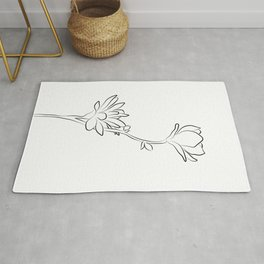 Flower Line Drawing - Modern Magnolia Rug