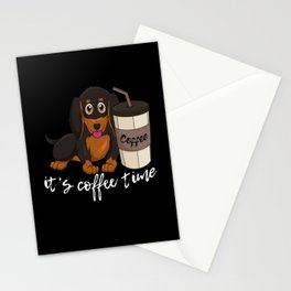 Sausage Dog Coffee time Dachshund Gift Stationery Cards