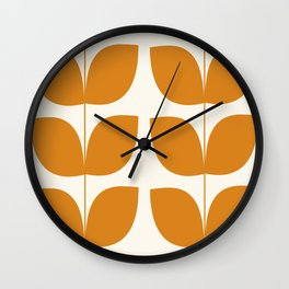 Mid Century Modern Leaves Orange Wall Clock
