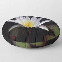 The white nymphaea Floor Pillow