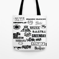 bands Tote Bags featuring Alterative Bands by Hus Photography