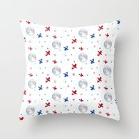airplanes Throw Pillows featuring Little Toy Airplanes on White by Art Tree Designs