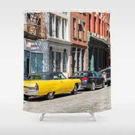 Yellow car in Tribeca, New York Shower Curtain