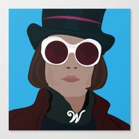 willy wonka Canvas Prints featuring willy wonka by Mariana Andrea