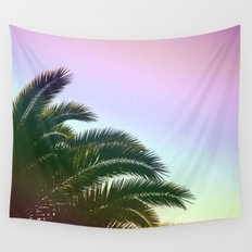 Palm Leaves  - Tropical Sky - Chilling Time Wall Tapestry