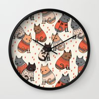 sweater Wall Clocks featuring Sweater Cats - by Andrea Lauren by Andrea Lauren Design