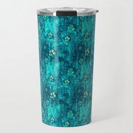 Teal Flowers Travel Mug