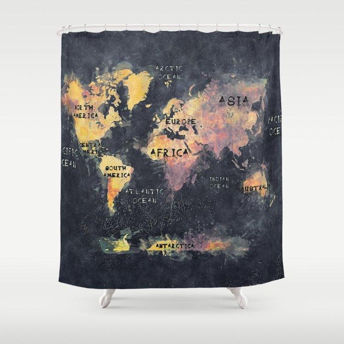 world map 12 Shower Curtain